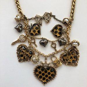 Betsey Johnson Cheetah Heart Necklace
